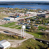 View taken Oct 1 2005 with former water plant and rail bridge in foreground, looking towards the river and Moose Factory visible in upper right hand corner.