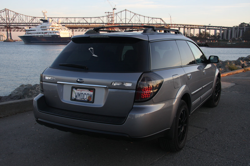 Black LED Taillights<br /> <br /> 2009 Subaru Outback XT Turbo manual transmission, fully loaded with all options<br /> Mods: Matte black Rota Rims, black LED taillights, and cleared out front headlights