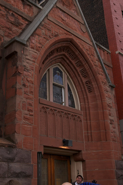 This is the outside entrance to First Lutheran. If it had not been so cold and crowded I would have changed lenses and shot a broader view.