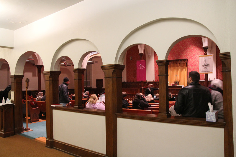 This is the interior of First Lutheran.  They are a force in the community and cater to those who need help. The signs on the door are clear - no drugs, alcohol, or guns on the property and nobody who is using. They provide shelter for the homeless, help people dress for interviews, and provide assistance to help train people for jobs. It is not a large congregation and a portion of it comes from outside the area.