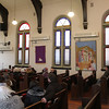 This is the interior of Nast Methodist in Over the Rhine. It is not a large church, but it is surviving. The speaker is the tour guide. There was a lady from the congregation who spoke as well and issued invitations to Easter services. It is a struggling congregation, but I got the impression things were improving from where they were a couple of years ago.