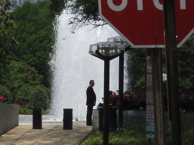 Making the drop at the fountain.