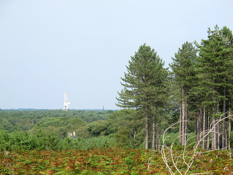 The Extended Reach Drilling rig on Goathorn peninsula, part of BP's Wytch Farm oil well installation.