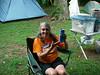 Post-Ocoee Dry Hair Day celebratory giant beer!  Saturday night...