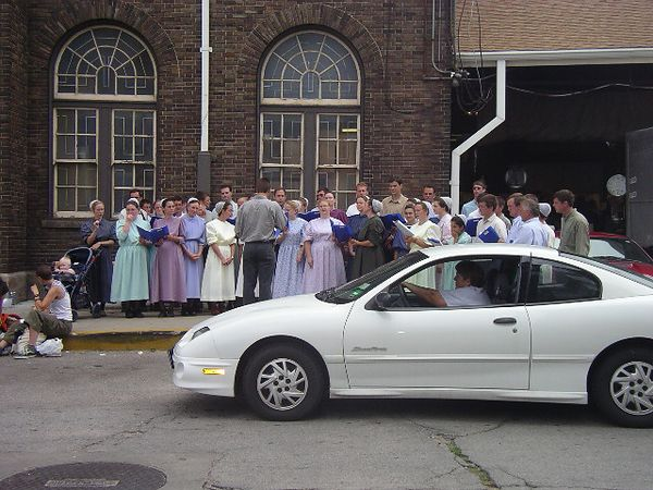 """Mennonite choir outside the farmers' market in St. Louis, Missouri.<br /> <br /> <br /> MORE PHOTOS FROM THIS TRIP ARE AT:<br />  <a href=""""http://kayakusa.smugmug.com/gallery/166560"""">http://kayakusa.smugmug.com/gallery/166560</a>"""