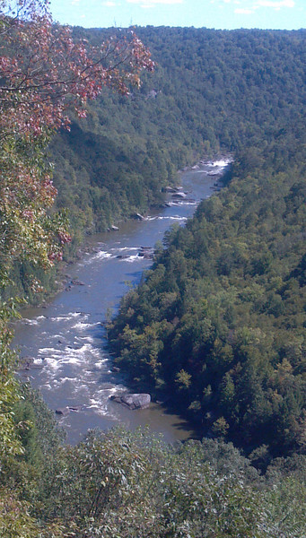 Overlook of upstream of Pillow Rock Rapid on the Upper Gauley, from the Carnifax Ferry site.