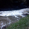 Upstream view of Sweet's Falls horizon line from above the river, Upper Gauley.