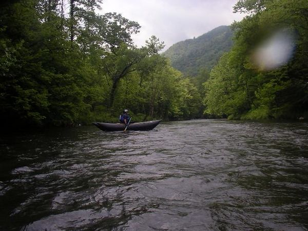 Dave and Marci in their new Shredder; Nantahala River, Saturday May 28th 2005.
