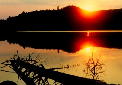 2 11 2015 Brooktrout Lake sunset, West Canada Wilderness, ADKs NY  sep 12, 1988d