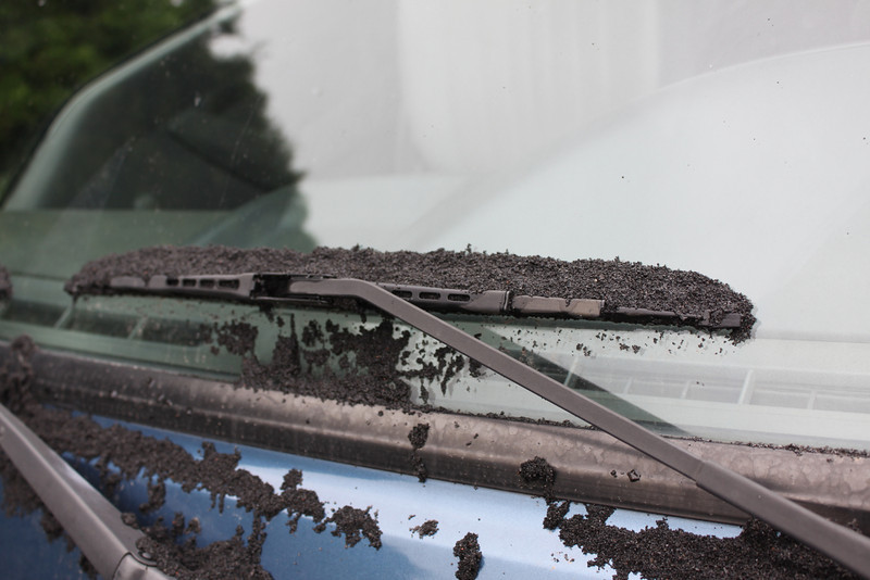 volcanic ash on wipers this morning.