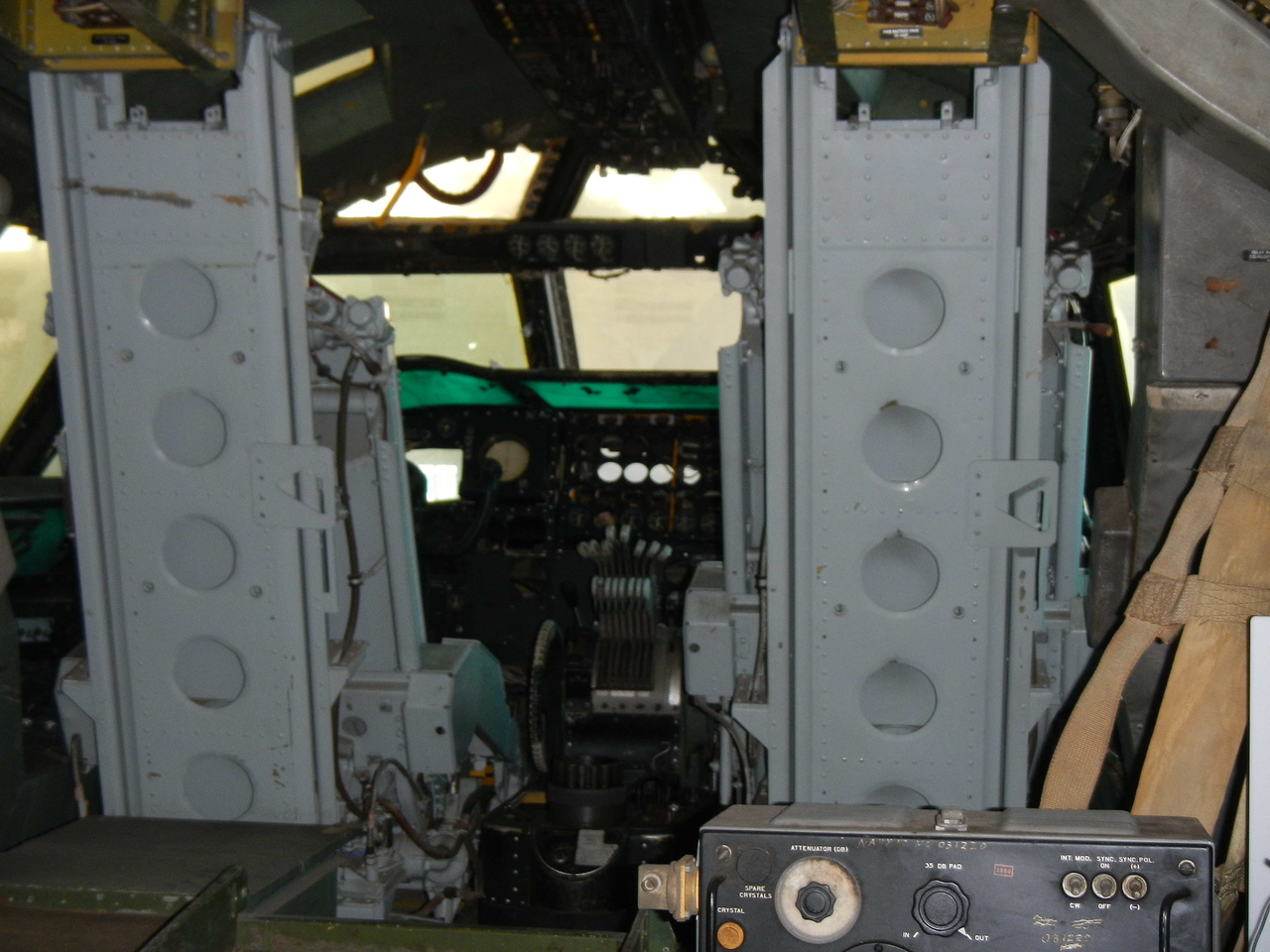 The cockpit of a B-52. You may be able to see the 8 throttles for the engines. When the B-52 came into production, it was actually faster than Soviet interceptors. They had one chance to be vectored in; if they missed it, they'd never catch up. We had a wing of B-52s at Minot AFB, in addition to the Missile Wing where I was a combat crewmember.