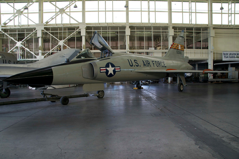 I was at Minot Air Force Base, and I've forgotten whether our squadron of interceptors was 102s or 106s. I believe this is the Convair Delta Dagger, known as the F-102. We had a squadron of interceptors to chase down those Russian bombers presumed to head towards us with their nuclear payload.