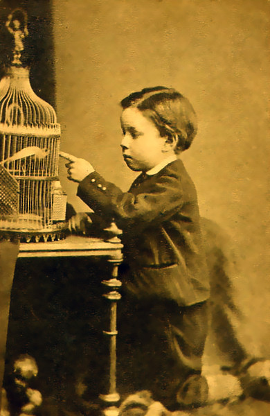 One of our earliest photo's, William with his Canary around 1871.