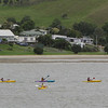 Junior kayak race in action