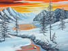 """WINTER SUNSET<br /> <br /> 20""""x 16""""<br /> oil on canvas<br /> 2008"""