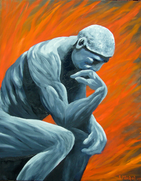 """THE THINKER CLOSE UP<br /> <br /> 20""""x 28""""<br /> oil on canvas<br /> 2007"""