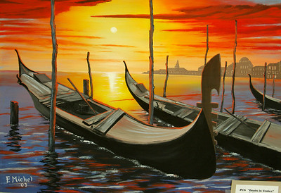 """BOATS IN VENICE  Venice, Italy 24""""x 18"""" oil on canvas 2003  sold to Miriam Keller"""
