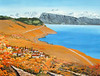 """VIEW FROM PULLI VINEYARD<br /> <br /> Lake Geneva, Switzerland<br /> 24""""x 18""""<br /> oil on canvas<br /> 2008"""