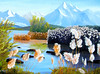 """PUSSY WILLOWS ON LAKE THUNE<br /> <br /> Lake Thune, Switzerland<br /> 20""""x 16""""<br /> oil on canvas<br /> 2008"""