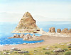 """PYRAMID ISLAND<br /> <br /> Pyramid Lake, Nevada<br /> 24""""x 18""""<br /> oil on canvas<br /> 2000<br /> <br /> (painted over in 2007; see Pyramid Island II)"""