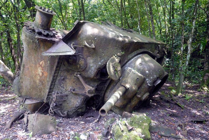 Sherman tank hit a landmine and flipped