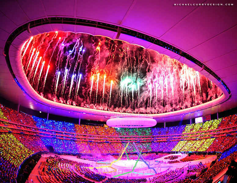 GUADALAJARA, MEXICO - OCTOBER 14:   Fireworks explode after the countdown to start the Opening Ceremony for the 2011 XVI Pan American Games at Omnilife Stadium on October 14, 2011 in Guadalajara, Mexico. (Photo by Hector Vivas/LatinContent/Getty Images)