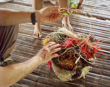 Basket weaving is an important craft in the village.