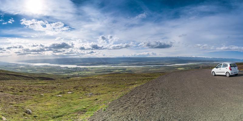 View over Egilsstaðir and Lagarfljót river from Fjarðarheiði Pass