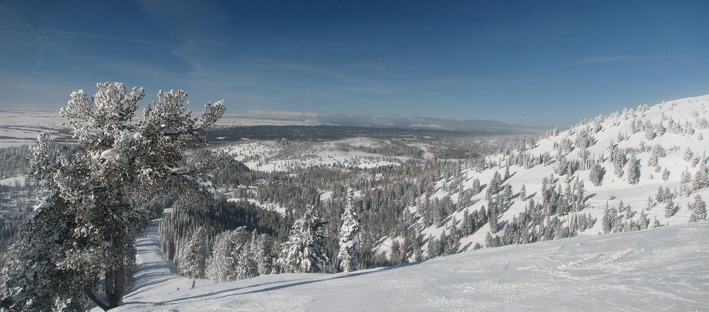 Dreamcatcher run and Teton Valley from Grand Targhee Ski Resort, near Alta, WY and Driggs, ID