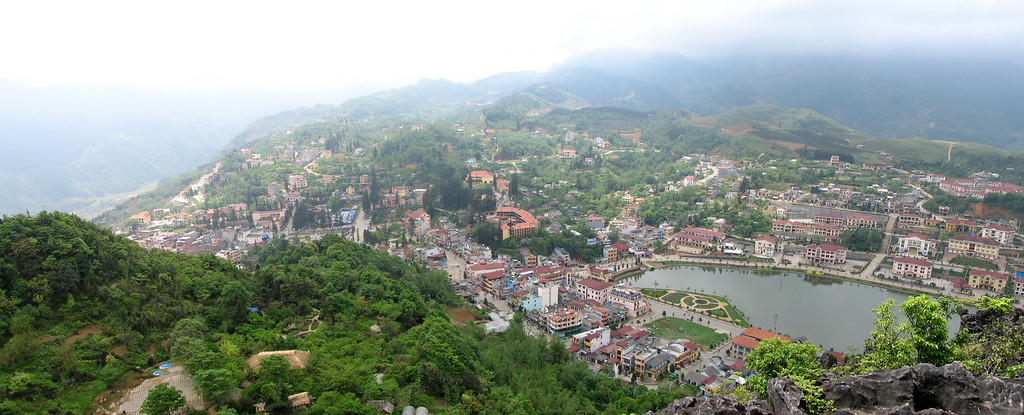Looking down from Ham Rong Mountain on Sapa in Northern Vietnam.