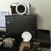 Camera, box, lens cap, battery, charger, flash,