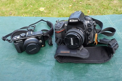 "Body plus ""fast"" prime comparison.  Note - Micro Four Thirds lenses have a 2x multiplier for 35mm equivalent.  Here we have the Panasonic 20mm f/1.7 (40mm @ 35mm equivalent) compared to a Nikon 50mm f/1.4."