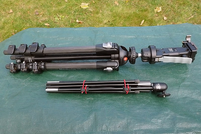 Manfrotto carbon fiber tripod (top) for the heavier full-frame DSLR and Tamrak Zipshot (bottom) for the MFT gear.