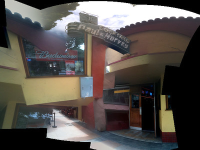 Sunnyvale, California. Dive bar Paul and Harvey on Murphy Avenue. Photo-stitching software goes completely haywire!