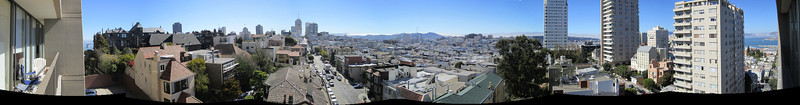 San Francisco. 270-degree view from son Davy's apartment. East is on the left (the Bay Bridge), then south, then west, then north to Alcatraz. An amazing view