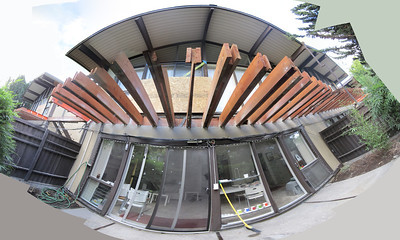 Palo Alto, California. View from my patio during a project to demolish and then replace a deck that runs across one side of the building. My photo-stitching software freaks out a little with some of the beams near the center of the image