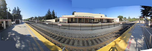 Palo Alto, California. Caltrain station. From San Jose on the left, to San Francisco on the right