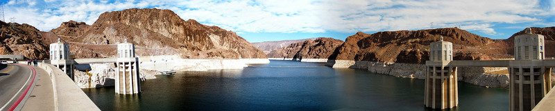 Lake Mead side of Hoover Dam 12-2003. Comprised of (5) separate shots, this was my first shot making a panorama three years ago.
