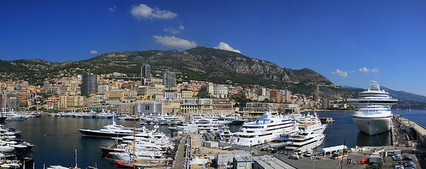 Monaco port and the casinos of Monte Carlo in the background.