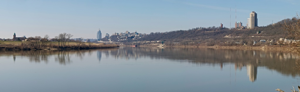 Cincinnati City Skyline - as seen from Riverside Drive, east of downtown