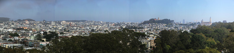 San Francisco from the 9th floor of the De Young Museum in Golden Gate Park.  9-image panorama shot through plexiglass.