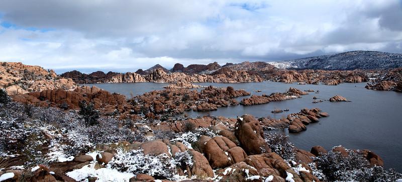 Watson Lake in Prescott Arizona after a snow storm