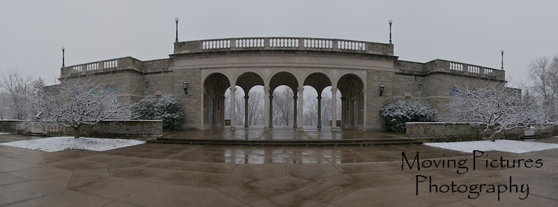 Ault Park Pavilion after a dusting of snow