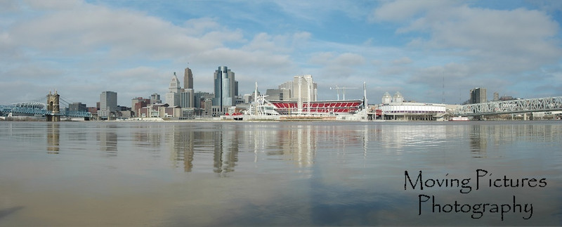 Cincinnati skyline - January, 2005 - Ohio River at 54 ft, 2 feet above flood stage