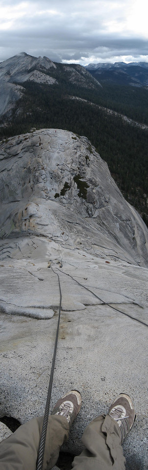 Looking down the cables on Half Dome