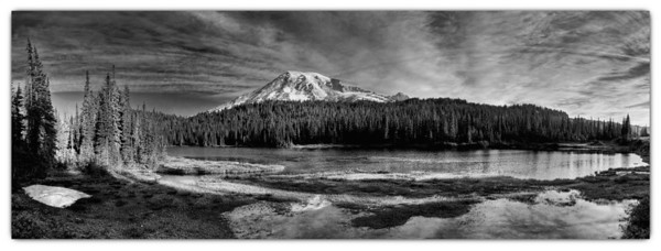 Reflection Lake-my last stop on the way out of the park.  This pano is composed of 6 images, 18 exposures layered for HDR and then stitched together.  I shot this one as a vertical pano and the next image as a horizontal.  It too is comprised of 6 images, 18 exposures.  Don't know if I like the b&w or color version, but I think I like the vertical format best!
