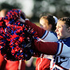 Don Knight/The Herald Bulletin<br /> Elwood cheerleader Courtney Blakenship performs a cheer with the Panther cheer squad after the Panthers scored a touchdown at Madison-Grant on Friday.