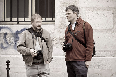 neil and pieter contemplate shooting in the marais