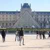 Main entrance to the Louvre.  All those people are in line to get in.