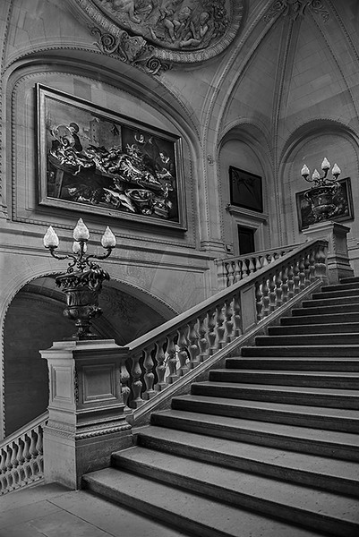 Staircase inside the Louvre, Paris France.